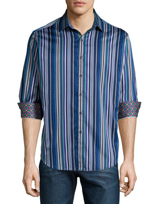 Inverness Multi-Stripe Sport Shirt, Navy