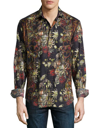 Tribes of Galway Printed Sport Shirt, Black