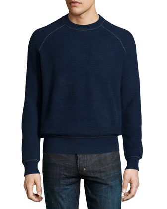 Neiman Marcus Cashmere by Billy Reid Raglan-Sleeve Cashmere Sweater, Navy