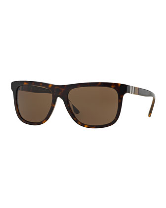 Plastic Sunglasses with Check Detail, Brown