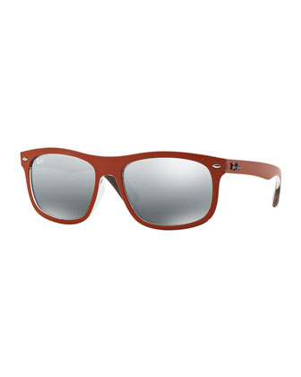 New Wayfarer Mirrored Sunglasses, Orange