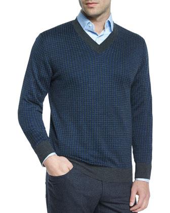 Houndstooth V-Neck Sweater, Gray/Blue