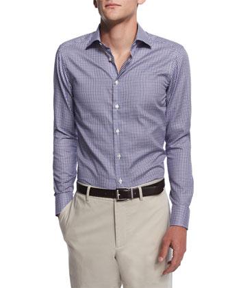 Small-Gingham Long-Sleeve Sport Shirt, Navy