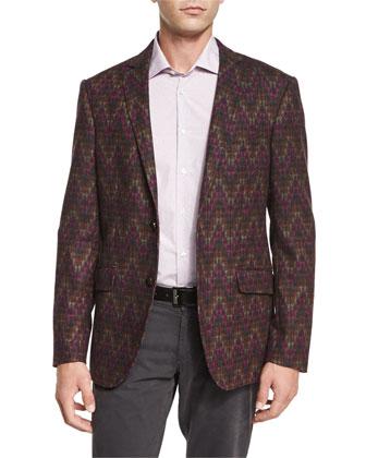 Chevron-Print Two-Button Jacket, Fine-Stripe & Dot Print Sport Shirt & ...