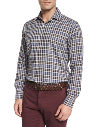 Plaid Woven Sport Shirt, Purple