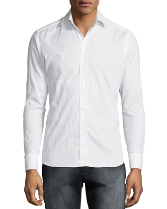 Tonal Paisley-Print Sport Shirt, White