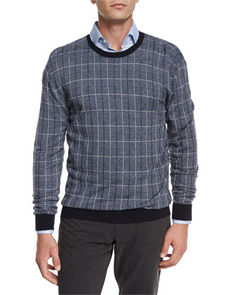 Printed Cashmere-Blend Crewneck Sweater, Navy
