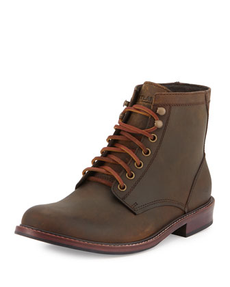 Elkton 1955 Plain-Toe Leather Boot, Dark Tan