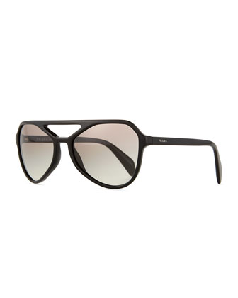 Acetate Irregular Aviator Sunglasses, Black