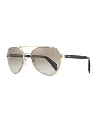 Irregular-Frame Aviator Sunglasses, Golden