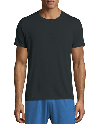 Crewneck Short-Sleeve Knit Tee, Charcoal