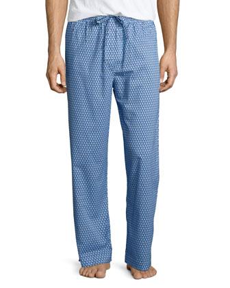 Geo-Print Knit Lounge Pants, Blue