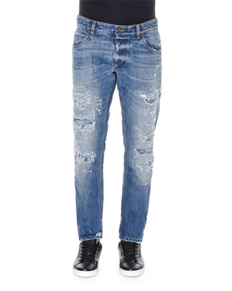 Destroyed Light-Wash Denim Jeans, Blue