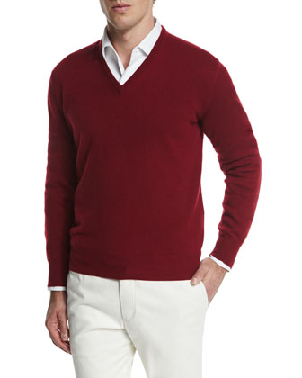 Scollo V Classic Baby Cashmere Sweater, Red
