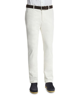 Flat-Front Slim-Fit Pants, White