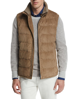 New Cortina Quilted Suede Vest, Brown