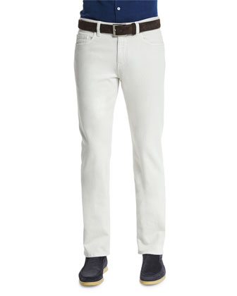 5-Pocket Regular Fit Stretch-Cotton Pants, White