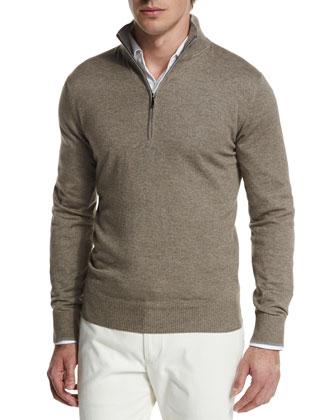 Mezzocollo Cashmere-Silk Pullover, Brown