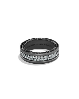 Men's Two-Row Band Ring with Sapphire