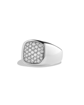 Pave Diamond Cushion Signet Ring