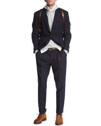Windowpane Two-Button Sport Coat, Navy