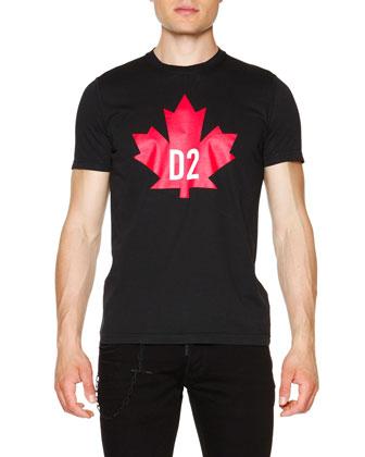 Maple Leaf Short-Sleeve Graphic Tee, Black