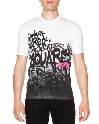Graffiti-Print Short-Sleeve Tee, White
