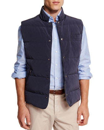 Quilted Snap-Button Vest, Oxford Button-Down Sport Shirt & Flat-Front ...
