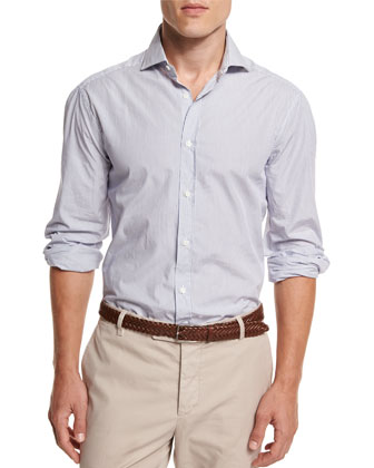 Mini-Stripe Button-Down Sport Shirt, White/Blue