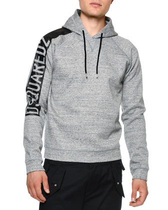 Logo-Sleeve Hooded Sweatshirt, Gray