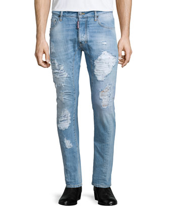 Super-Distressed Skinny-Leg Denim Jeans, Light Blue