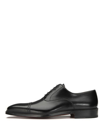 Cap-Toe Leather Oxford Shoe, Black