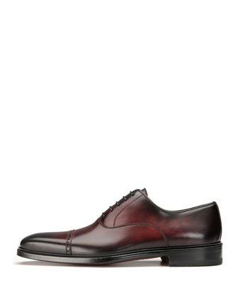Cap-Toe Leather Oxford Shoe, Burgundy