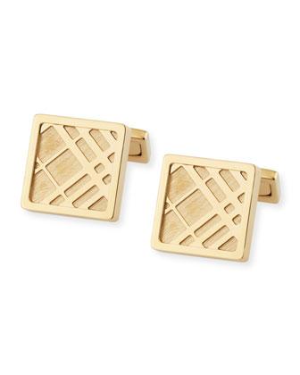Square Check Cuff Links, Gold