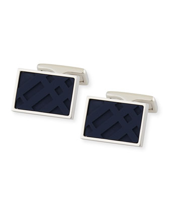Resin Check Cuff Links, Navy
