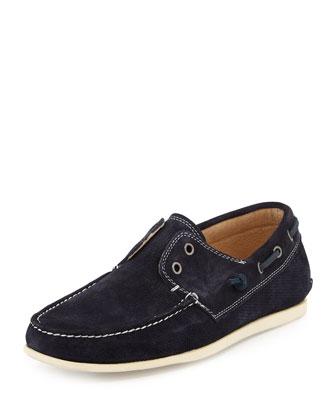 Suede Boat Shoe, Navy