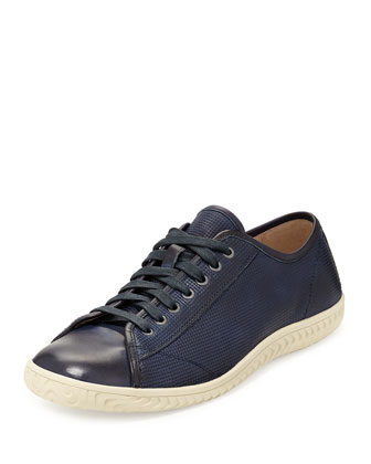 Hattan Cap-Toe Leather Low-Top Sneaker, Blue