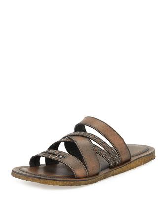 Tobago Stitched Slide Sandal, Brown