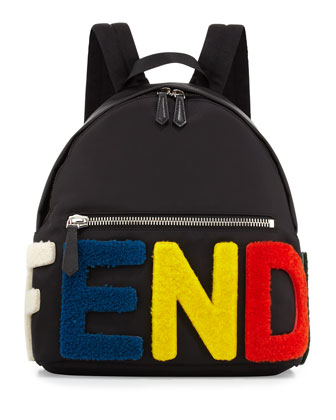 Furry-Logo Nylon Backpack, Multicolor