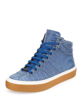 Belgravi Men's Crocodile-Embossed High-Top Sneaker, Blue