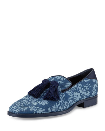 Foxley Men's Brocade-Print Tassel Loafer, Blue