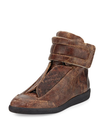 Future Antique Distressed Leather High-Top Sneaker, Brown