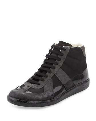 Replica Shiny Leather High-Top Sneaker