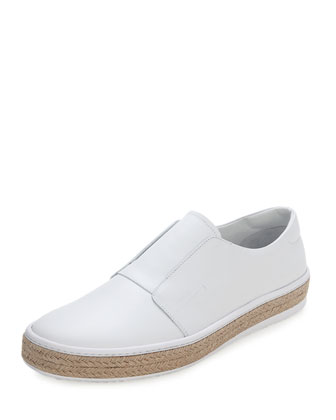 Leather Slip-On Espadrille
