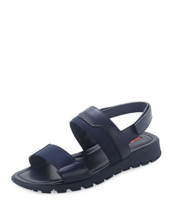Nylon Strappy Sandal, Blue