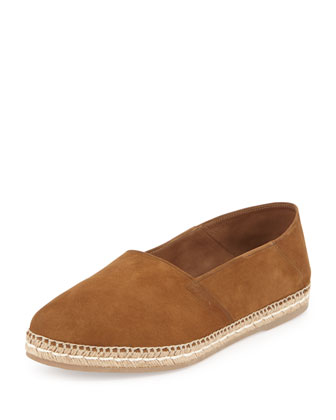 Suede Slip-On Espadrille, Brown