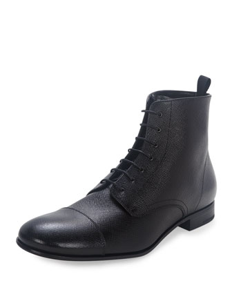 Saffiano Leather Lace-Up Boot, Black