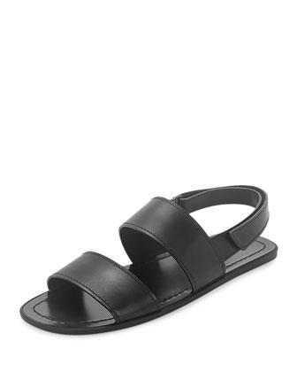 Leather Strappy Sandal, Black