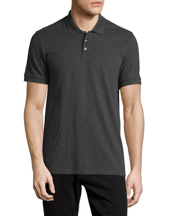 Slub Polo Shirt, Gray
