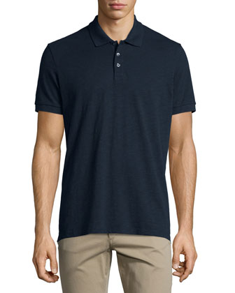 Slub Polo Shirt, Navy